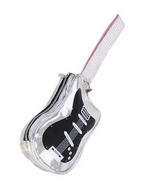 Silver Guitar Clutch Bag