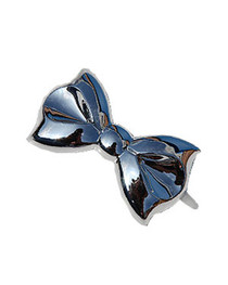 Silver Metalic Bow Hair Clips