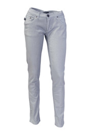 Silver Metallic Low Rise Skinny Jeans
