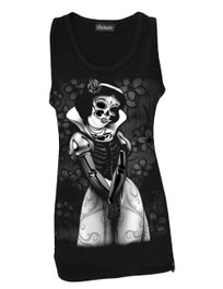 Snow White Skeleton Black Cotton Vest