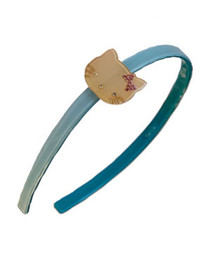 Turquosie with Cream Kitty Resin Hairband