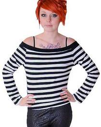 White And Black Stripe Boat Neck Top