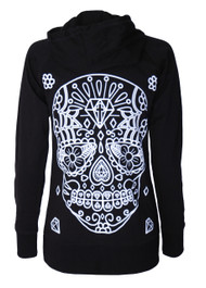 White Sugar Skull Cotton Zip Hood