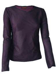 Womens Fishnet Purple Net Lined Top