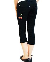 Cherry Tattoo Capri Jeans Womens
