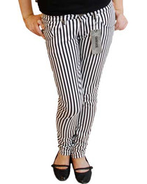 Black And White Stripe Low Rise Skinny Jeans