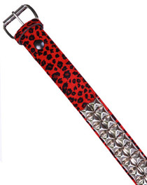 Red Leopard Pyramid Fur Belt 38mm