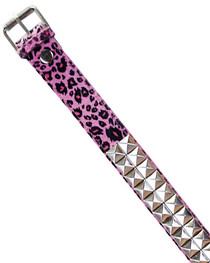Pink Leopard Pyramid Fur Belt 38mm