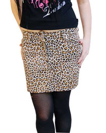 Natural Leopard Denim Mini Skirt