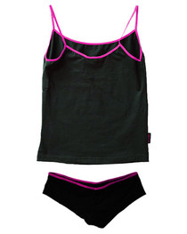 Black Hipster Underwear Set With Pink Trim