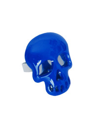 Blue Plastic Mirrored Skull Ring