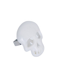 White Plastic Mirrored Skull Ring