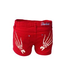 Skeleton Hands Red Denim Hot Pants