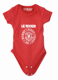 Red Lil Rocker Baby Grow (White Print)