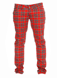 Red Tartan Regular Rise Skinny Jeans