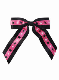 Black And Pink With White And Black Star Hairbow