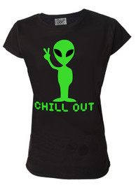 Alien Chill Out Womens T Shirt