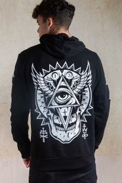 All Seeing Eye Fleece Zip Hood With White Detail