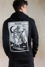 Death Tarot Card Fleece Zip Hood
