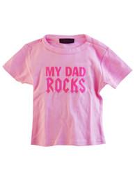 My Dad Rocks Pink Kids T Shirt