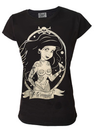 Mermaid Womens Black T Shirt
