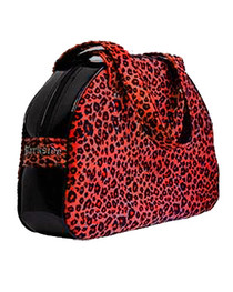 Red Leopard Fur Handbag