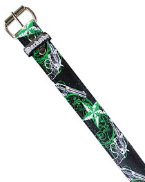Black With Green Star And Gun Printed Belt