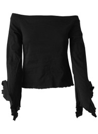 Black Boatneck Top With Angel Arms