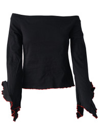 Black With Red Trim Boatneck Top With Angel Arms