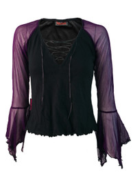 Lace Up Top With Purple Net Arms