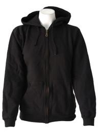 Womens Black Zip Hood With Gold Zip