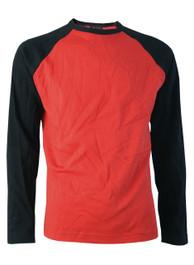Mens Red Raglan Top With Black Sleeves