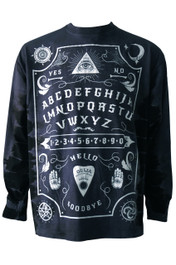 Ouija Board Black Side Stripe Long Sleeve Tie Dye T Shirt