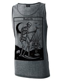 Death Tarot Card Mens Grey Burnout Vest