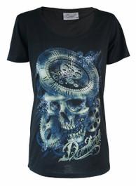 Clockwork Skull Womens Scoop Neck T Shirt