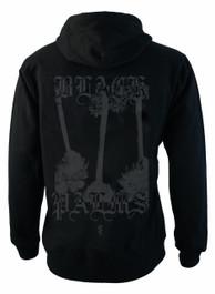Black Palm Fleece Zip Hood