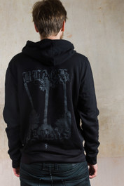 Black Palm Fleece Zip Hood