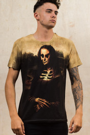 Mona Lisa Skeleton Mens T Shirt