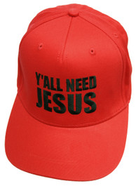 Yall Need Jesus Red Snapback Cap