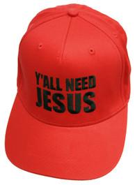 Yall Need Jesus Red Snapback Cap