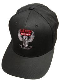 Wing Wheel Black Snapback Cap