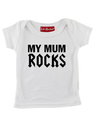 White My Mum Rocks Baby T-Shirt