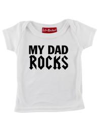 White My Dad Rocks Baby T-Shirt