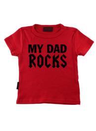 Red My Dad Rocks Kids T-Shirt