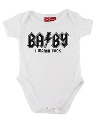 White Wanna Rock Baby Grow