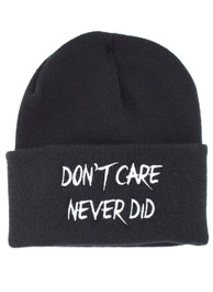 Dont Care Never Did Embroidered Slogan Beanie Hat