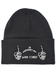 In Memory Of When I Cared Embroidered Slogan Beanie Hat