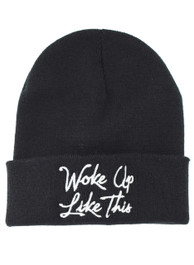 Woke Up Like This Embroidered Slogan Beanie Hat