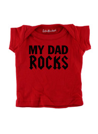 Red My Dad Rocks Baby T-Shirt
