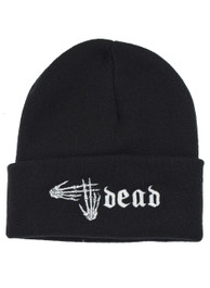 # Dead Skeleton Hand Hashtag Embroidered Beanie Hat
